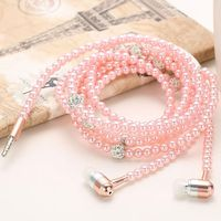 Fashion Wired Bling Jewelry Pearl Necklace Earphones Microphone Handsfree 3.5mm Pink Earphone For IOS Android Phone Accessories $16.16