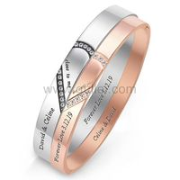 Gullei.com Promise Couple Bracelets with Names Engraved