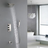 Contemporary Nickel Brushed Wall Installation Brass Valve Shower Faucet.jpg