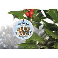 """Get your herd in the holiday spirit with our reindeer family ornament. Select a family of four, five or six and personalize it with all of your reindeer's first names (up to 10 characters per name) and the Year. Measures 3"""" in diameter ..."""