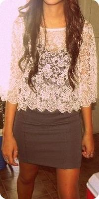 Lace top over dress