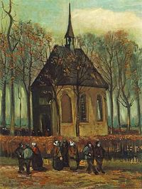 The Secret Museum: Van Gogh's Never-Before-Seen Sketchbooks | Brain Pickings. Here: 'Congregation Leaving the Reformed Church at Nuenen' 1884.