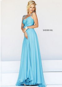Turquoise Long Cap Sleeves Rhinestone Beaded Sheer Back Prom Dress 2014
