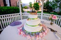 white wedding cake with green bands