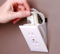 It looks like an electrical outlet but it is a great place to hide your valuables. Made of high impact plastic and metal. Once installed it pivots out to r