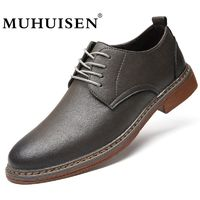 MUHUISEN 2018 Spring Autumn Men's Shoes Casual Leather Lace-Up Flats Fashion Breathable $75.18