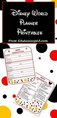 Free Disney Vacation Planner Printables. Organize all your important reservations in this free Disney World planner.
