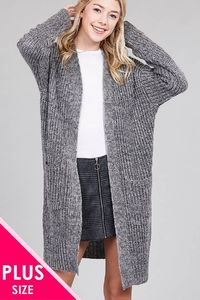 Ladies fashion plus size dolmen sleeve open front w/patch pocket marled sweater cardigan $46.00