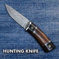 Damascus Hunting Knife Fixed Blade Leather Scabbard Camping Outdoor Home Tool $118.00