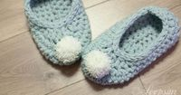 My version of the Cosy Pom-Pom Slippers from Inside Crochet 71