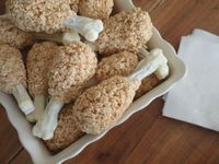 So cute! Turkey Leg Rice Krispie Treats, using pretzel rod dipped in white chocolate for the bone!