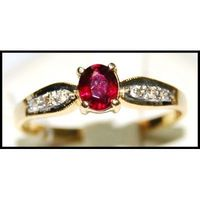 Genuine Ruby 18K Yellow Gold Diamond Solitaire Ring [R0128]