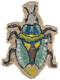 Coral and Tusk - silk blue beetle pin