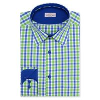 Create a stylish look with this Oxford Men Blue And Green Check shirt. Woven in Egyptian cotton & polyster. this check shirt has a fine finish.