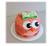 Pink Owl Kid's Birthday Cake