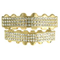Men's Gold Plated 3 Row Crystal Studded Clear Stones Top & Bottom Teeth Grillz £19.95