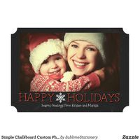 Simple Chalkboard Custom Photo Holiday Flat Card