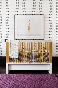 Animals and bold pattern featuring Robot March print in this fun Ashe + Leandro Nursery!