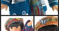"""Cute American Girl 18"""" Doll sweater, hat, scarf and purse crochet and knitting free patterns."""