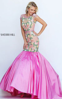 Cap Sleeve Nude/Candy Pink Cheap 2016 Unique Sherri Hill 50304 Fashion Beads Fascinate