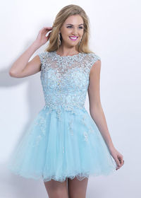 2015 Short Cap Sleeves Beaded Lace Open Back Pale Blue Cocktail Dress
