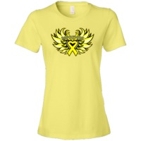 Endometriosis Awareness Fighter Winged Women's Fashion T-Shirts featuring a yellow heart ribbon for advocacy