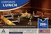 Impress your clientele with hospitality services they can't afford to miss with corporate lunch in Shivaji Nagar at Deccan Rendezvous, Pune. Enjoy a great selection of mocktails, soups, main course entree and desserts at a price of just Rs. 299/-.