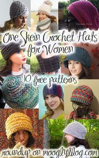 10 Pretty One Skein Hat #crochet patterns | CrochetStreet.com Really quite perfect for any time of year, these fabulous hat crochet patterns are fun and absolutely free. Fabulous shapes and textures to choose from and don strolling downtown or to the cafe...