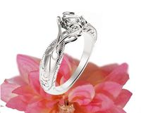 Diamond ring Gold ring Solitaire Ring Unique Claw Design Engraved Engagement Ring 14K or 18K White Gold $1691.00