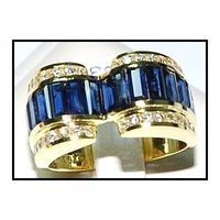 Blue Sapphire 18K Yellow Gold Genuine Diamond For Men Ring [RQ0010]