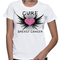 Cure Breast Cancer T-shirts featuring a cool grunge design with fighter wings. Our shirts are printed on demand on Gildan Ladies Classic Fit styles. Our designs are created by cancer survivors and advocates to make an impression for Breast Cancer Awarenes...