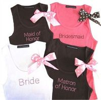 New Custom Bride Tank Top and Bridesmaid Tank Top with Polka Dot Ribbon! (I think it would be fun to have these for the bachelorette night, with purple instead of pink!)