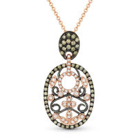 0.40ct Brown & White Diamond Pave Pendant & Chain Necklace in 14k Rose & Black Gold - AM-DN4372