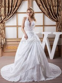 HALTER SATIN BALL GOWN WITH FLORAL AND BEADING DETAILS