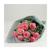 10 pcs pink roses, baby's breath, tissue