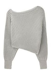 ALEXANDER WANG / ASYMMETRICAL CROPPED PULLOVER AW002APF10 $375.00 Asymmetrical Cropped Pullover by Alexander Wang.   Off-the-shoulder chunky ribbed sweater with a cropped length. Sweater drops off of right shoulder / Horizontal chunky ribbed knit / Wide...