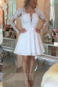 A Line Open Back Short White Chiffon Lace Pearl Prom Dress With Sleeves