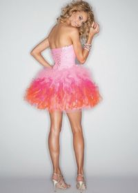 Strapless Ombre Pink Corset Back Tulle Homecoming Dress