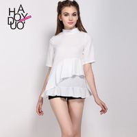 Sweet Fresh Split Front High Neck Summer Frilled Short Sleeves Blouse Top - Bonny YZOZO Boutique Store