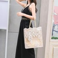 Chic Lace Women Handbag Totes Wedding Bridal Party Shoulder Bag Summer Beach Lady Large Capacity Embroidery Women's Shopping Bag $26.62