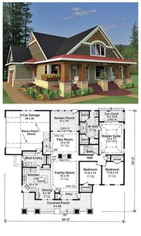 House Plan 42618 is a craftsman style design with 3 bedrooms, 2 bathrooms and a bonus area of 288 sq. ft. Total living area is 1866 sq. ft. The master suite has an attractive vaulted tray ceiling, and the master bathroom has two stand-up showers, two vani...