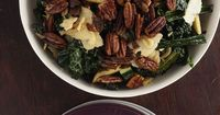 Kale and Apple Salad with Molasses Vinaigrette and Sugared Pecans - this is the business, would be amazing as a Thanksgiving side dish (Tweaks: I used Pink Lady apples, Sweet and Spicy pecans from Trader's Joes, and water instead of vegetable stoc...