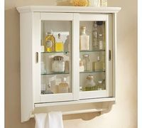 Sliding Door Wall Cabinet #potterybarn While I like how this looks, I don't know if I could pulled off glass cabinets -- probably need something to hide my clutter. But might be able to do treatment to the glass?