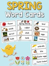 This set of 15 Spring Picture-Word Cards includes rabbit, chick, lamb, flower, seeds, sprout, bud, bird, nest, eggs, rainbow, umbrella, kite, Easter eggs, and E