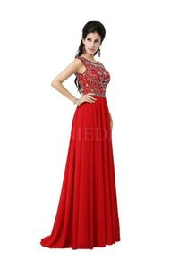 Red A-Line Scoop Beaded Bodice Floor Length Chiffon Prom Dress