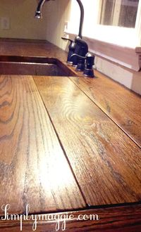 DIY Wide Plank Butcher Block Counter Tops, might do this wide plank top instead of the smaller slats...