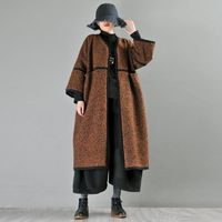 Mid-length brown woolen coat,Best Seller High Quality Handmade Wool Coat,Oversize Wool Coat,Loop woolen coat