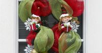 XL Christmas Wreath Deco Mesh Elf Swag Red Lime Green Decoration