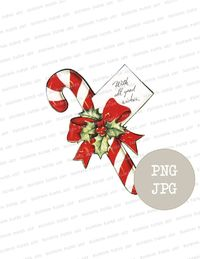 Christmas Candy Clip Art Christmas Ornament Digital Download, Vintage Graphic Candy Clipart for Prints, Cards, Crafts