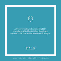 With Accurate Legal Billing, prepare and submit automatically reviewed invoices that are guaranteed to be 100% ompliant with your client's billing guidelines, thereby completely eliminating reductions in your invoice totals.